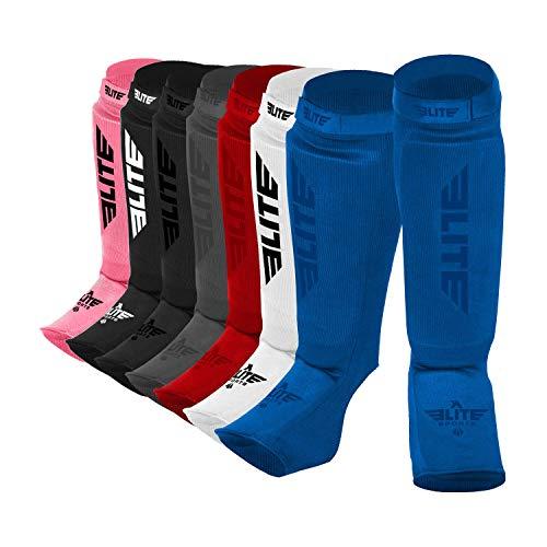 Elite Sports Protective Kickboxing, MMA, Muay Thai Shin & Instep Guards Leg Pad Training Protective Gear Washable (XS, Blue)