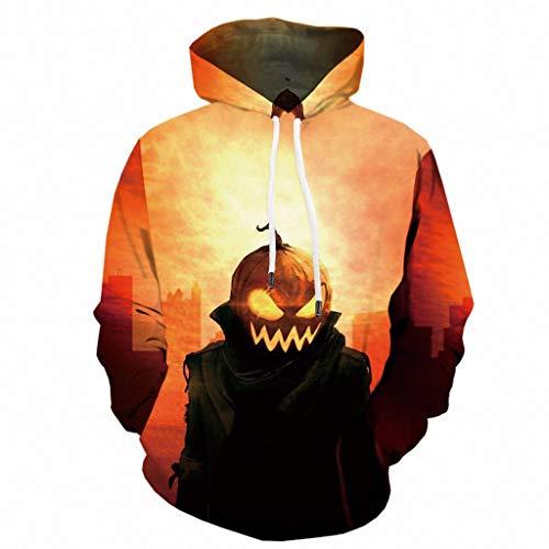 Pug Halloween Meme (Mens Tops Halloween Pumpkin 3D Print Hooded Party Long Sleeve Hoodie Blouse)