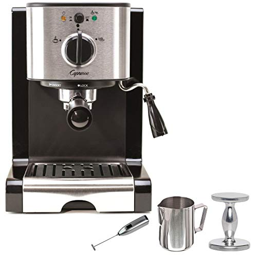 Capresso EC100 Pump Espresso and Cappuccino Machine with Frother and Pitcher Accessory Bundle (4 Items)