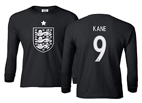 Spark Apparel Soccer Shirt 2018 England National Soccer #9 Harry Kane World Championship Boys Girls Youth Long Sleeve T-Shirt (Black, Youth Medium)