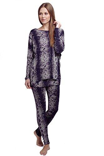 Chándal para mujer de piel de serpiente–aspecto de piel de serpiente sintética Animal Print ropa Leggings completo traje Tops pantalones azul marino