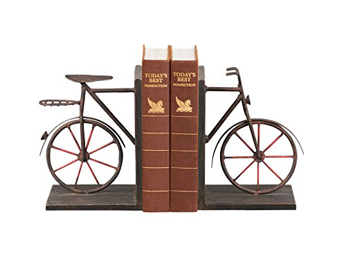 Sterling Industries Pair Bicycle Bookends in Antique Black and Red (Set of 2)
