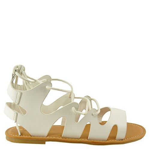 Bambù Bayside 13s Scarpe Da Donna In Gabbia Pizzo Sandalo Piatto Bianco