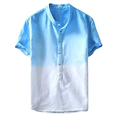 FEDULK Mens Summer Tees Thin Breathable Stand Collar Hanging Dyed Gradient Button Up Short Sleeve T-Shirt(Blue, Medium)
