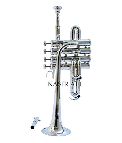 Nasir Ali eMusicals Picollo Trumpet Bb Pitch With Free Hard Case And Mouthpiece, Nickel Silver