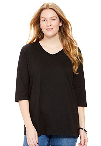 Women's Plus Size Three-Quarter Sleeve Perfect V-Neck Tee Black,L (3 Quarter Sleeve Tee)