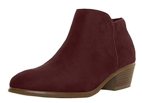 (Wild Diva Womens Almond Closed Toe Med Low Heel Western Cowboy Ankle Booties Boots (5.5 B(M) US,)