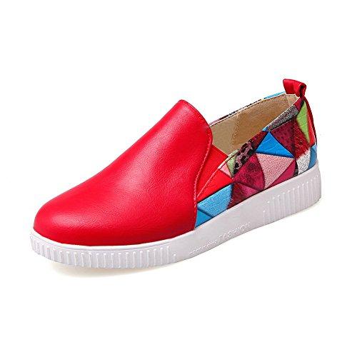 Balamasa Dames Kleuraanpassing Dikke Lage Hak Ronde Neus Aantrekbare Geïmiteerde Lederen Pumps-schoenen Rood