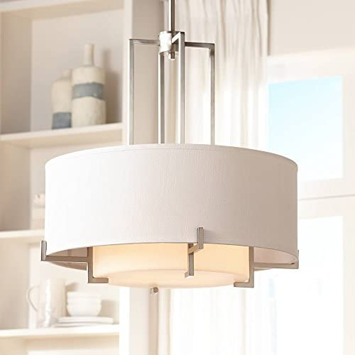 Concentric Shades Brushed Nickel Drum Pendant Chandelier 25 Wide Modern White Hardback Shade 4-Light Fixture for Dining Room House Island Entryway Bedroom Living Room – Possini Euro Design