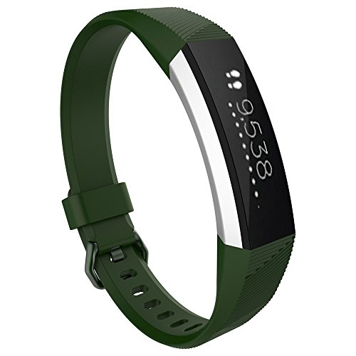 OUFENLI Watch Band for Fitbit Alta HR,Sport Silicone Wristband Quick Release Bracelet for Fitbit Alta HR Watch (Army - Green Dial Light Silicone