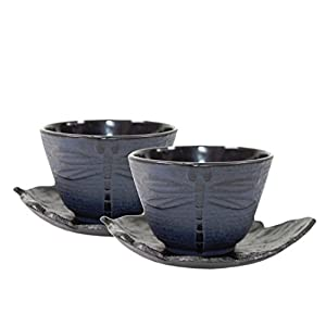 2 Black Tea Saucer Blue Dragonfly Cast Iron Teacup Hobnail Dot Japanese Styel ~ We Pay Your Sales Tax