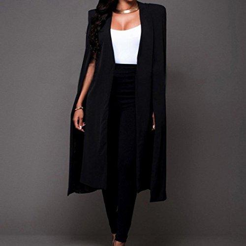 Pocciol Women's Cape Blazer Trench Duster Coat-Casual Open Front Cloak Cape Solid Color Suit Jacket