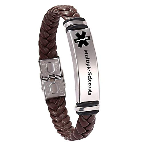 Personalized Custom Name Date ICE Engraved Stainless Steel Medical Alert Disease Awareness Leather Bracelet Alarm ID Bangle Emergency Life Save for Adults,Children,Free Engrave,Black,Brown