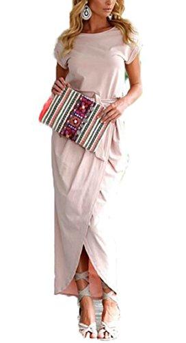Solid Side Maxi Jaycargogo Dress Casual 1 Waist Short Beach Tie Split Womens Sleeve qwIA0gw