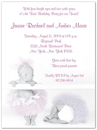 Amazoncom 2 Ballerina Babies Twins First Birthday Invitations