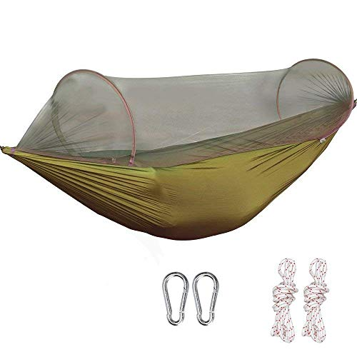 G4Free Portable Camping Hammock Net Hammock Tent Capacity 400 Pounds Outdoor Foldable Tree Hammocks(110x50 inch)(Deep Green)