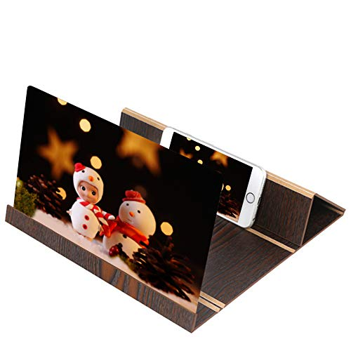 Price comparison product image FORESTIME 3D Phone Screen Magnifier Stereoscopic Amplifying 12 Inch Desktop Wood Bracket (Black,  12 inches)