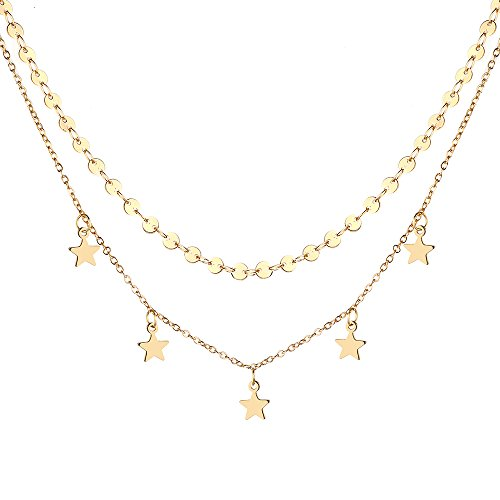 Monily Layering Choker Necklace Disc Heart Star Lucky Coin Chain Women Jewellery (Adjustable Beaded Heart Necklace)