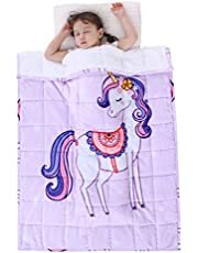 Topblan Weighted Blanket 3lbs for Kids, Sherpa Fleece Blanket Featuring Whimsical Patterns, Calming Blanket to Help with Peaceful Sleep, 36 x 48 inches - Purple Unicorn
