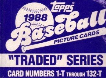 (1988 Topps Traded set of 132 baseball cards (Jim Abbott, Roberto Alomar, Mark Grace, Tino Martinez, Robin Ventura etc))