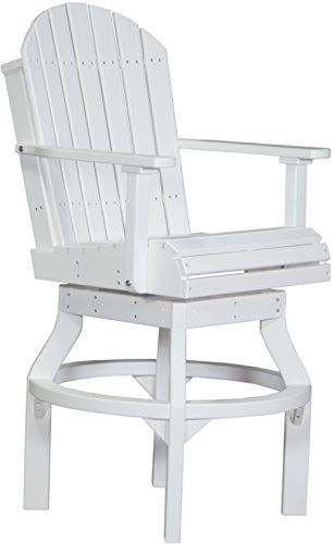Adirondack Bar - Set of 2 BAR HEIGHT Poly Adirondack Swivel Chairs - WHITE Color