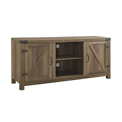 Cheap ModHaus Living Modern Rustic 2 Door Media Cabinet TV Stands with Adjustable Shelves – Includes Pen (Brown)