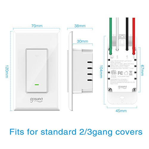 Smart Light Switch Gosund in-Wall Wifi Smart Switch Works with Amazon Alexa Google Home and IFTTT, [Timer/Countdown/Scene] Remote Control, Single-Pole, No Hub Required, Easy Installation (4 pack) by TanTan (Image #2)