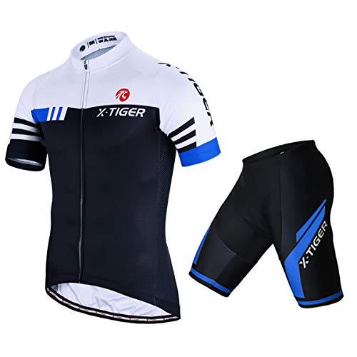 X-TIGER Men's Cycling Jersey Set Short Sleeve Biking with 5D Gel Padded Shorts MTB Road Bike Cycling Clothing Set,Blue XXXL