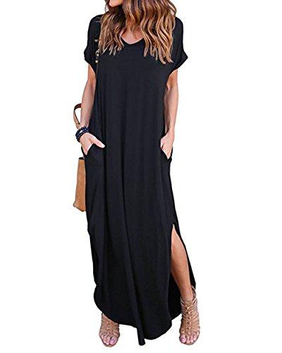 (Women's Long Loose Maxi Dress V-Neck Casual Side Split Dresses with Pockets)