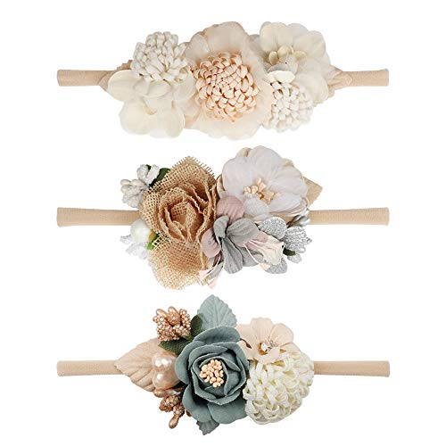 Baby Girl Flower Nylon Headband-Elastic Hair Band Handmade Bow For Newborn Infant Toddler Pack of 3 -