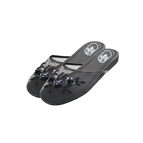 Womens Black Chinese Mesh Slippers,9 B(M) US,2 pairs-Black