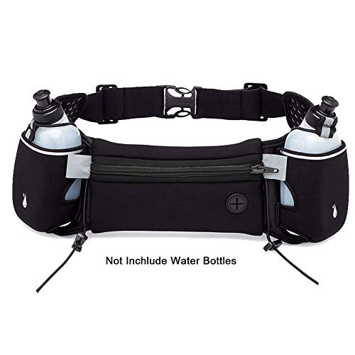 Hydration Fanny Pack Running Belt with Water Bottle, Adjustable Elastic Cell Phone Pouch Runners Belt Water Resistant Waist Bag Pack for Workout Exercise Gym Hiking Jogging Training Woman Mens-Black