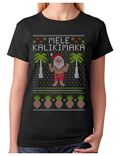 TeeStars - Mele Kalikimaka Hawaiian Santa Ugly Christmas Women T-Shirt