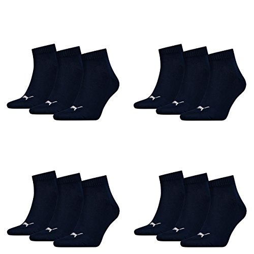 12 pair Puma Sneaker Quarter Socks Unisex Mens & Ladies 321 - navy