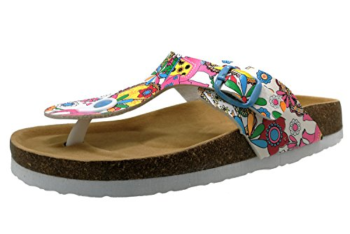BigTree Sandals for Women T Strap Buckle Open Toe Gladiator Beach Thong Flat Summer Flip Flop Floral3