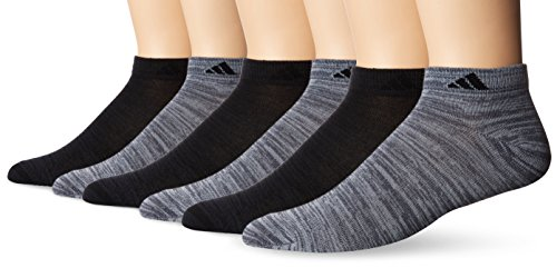 adidas Mens Superlite Low Cut Socks (6-Pack), Onix Clear Onix Space/Black Night Grey Space/Black, Large (Size 6-12)
