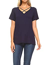 Loose Criss Cross Top V Neck Strap Shirt For Women Short Sleeve Top Made In USA