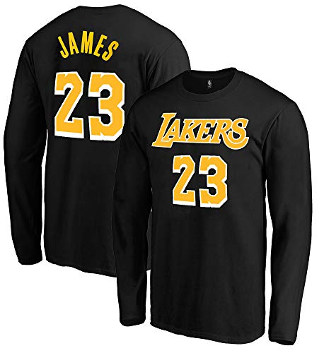 - Outerstuff NBA Youth Game Time Team Color Player Name and Number Long Sleeve Jersey T-Shirt (Medium 10/12, Lebron James Los Angeles Lakers Black)