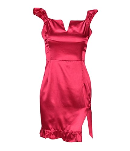 Red Charmeuse Collar Coolred Sexy Flounced Square Women Dress Bodycon Split aqwFBT1wx