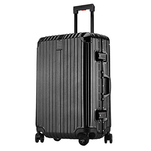 - HFY Travel Case Aluminum Frame Trolley Case Brushed Pattern, Scratch-Resistant 20 (35 23 54) 22 (38 24 59) Two Sizes Black Silver Two Colors (Color : Black, Size : 22(382459))