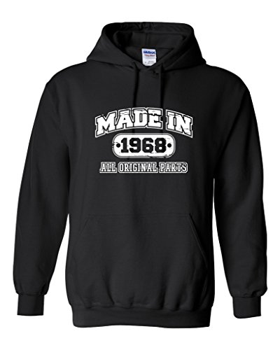 50th Birthday Hoodie Made In 1968 Sweatshirt Mens Funny Hoodie XL Black