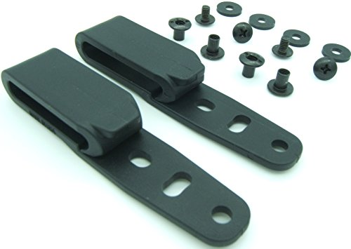 "Quick Clip Pro Holster Tough Grip Clips, 3 Hole Adjustable Cant for IWB OWB Kydex, Leather, Hybrid Holster Making. Tuckable Black Plastic w/ Chicago Screw Hardware Made in USA (1.5"" 2-PACK)"