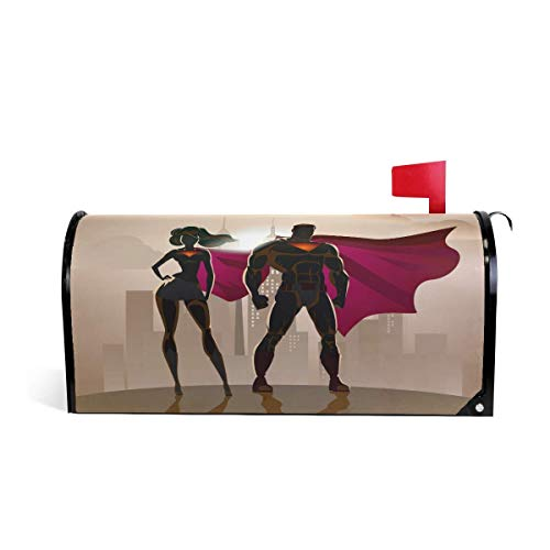 Ding Goods Male and Female Superheroes Welcome Large Magnetic Mailbox Post Box Cover Wraps, Oversized Makover MailWrap Garden Home Decor
