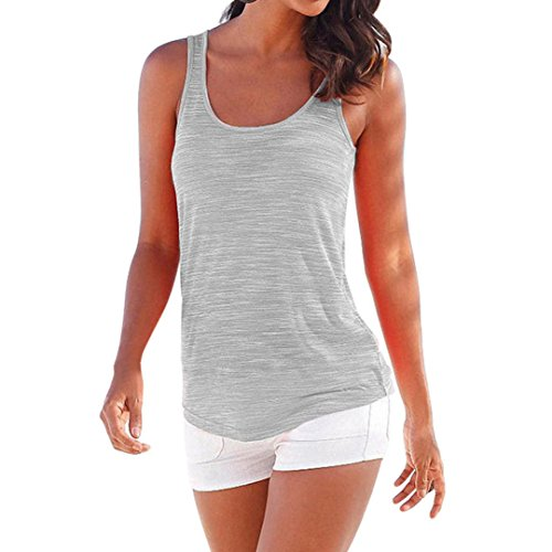 2017 New Summer Women Lace Shirt ONEMORES(TM) Sleeveless Tops Casual Tank Top (L, Gray)