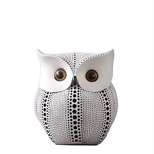 Nosterappou Black and White owl Ornaments, Unique Shape, Fun and Chic, Modern Minimalist Home Office Decorations, Resin Creative Crafts owl Ornaments, Calm Temperament (Color : White) ()