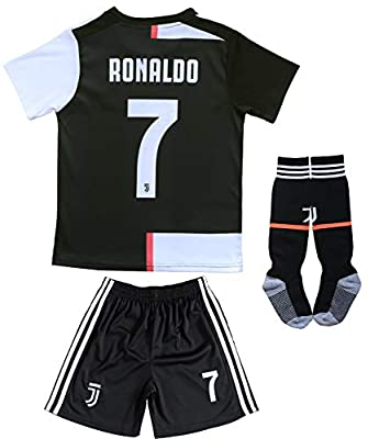 FCRM 2019/2020 New #7 Cristiano Ronaldo Kids Home Soccer Jersey & Shorts Youth Sizes