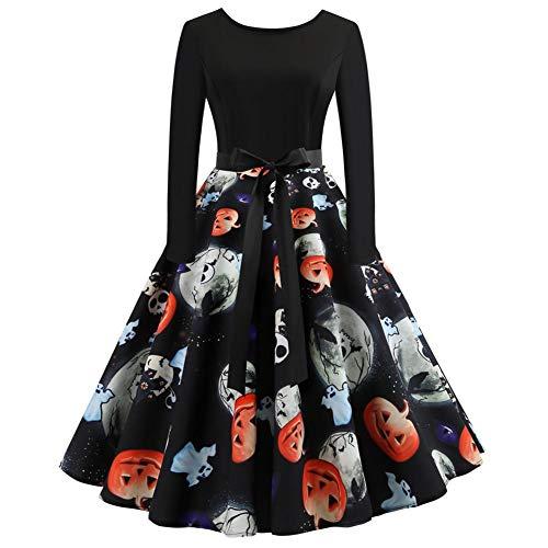 Womens Vintage Halloween Pumpkin Head Print Long Sleeve Evening Party A Line Dress -