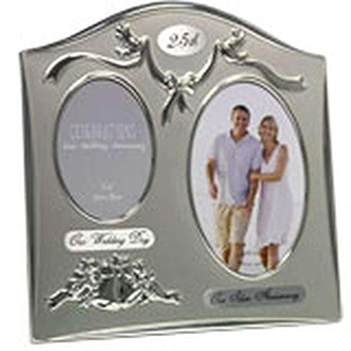 Silver Wedding Anniversary Ideas (Two Tone Silverplated Wedding Anniversary Gift Photo Frame -