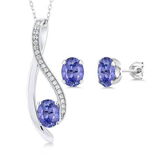 2.32 Ct Oval Blue Tanzanite 925 Sterling Silver Pendant and Earrings Set by Gem Stone King