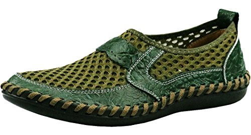 Forucreate Men's Driving Loafers Comfortable Walking Shoes Mesh Slip on Shoes (Green 41)